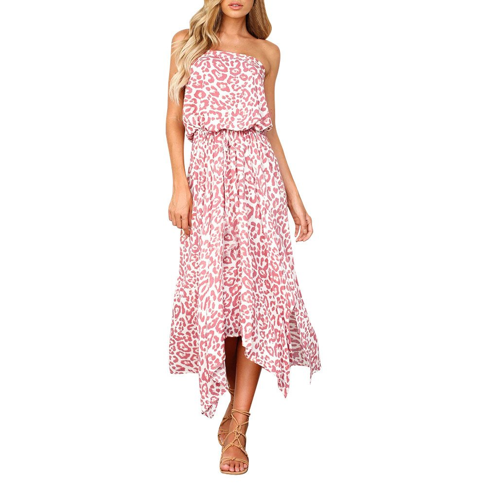 Vickyleb Women Long Dresses,Lady Boho Print Off Shouder Dress Beach Sun Dress Summer Sundress Pink