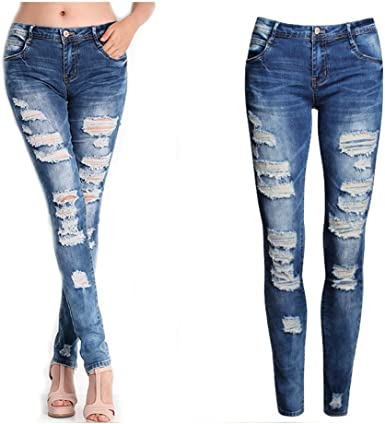 Womens High Waisted Distressed Stretch Jeans Skinny Ripped Jeggings Trousers