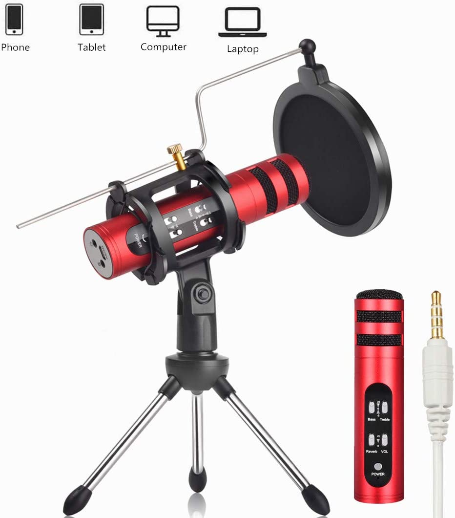 Remall Mini Desktop Microphone with Voice Changer, Pop Filter, Tripod Stand and Metal Rod, Studio Recording Mic for Live Streaming, Music Recording, Singing on Android Phone iPhone iPad Computer PC Mc