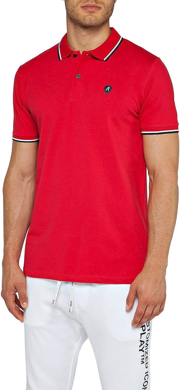 REPLAY Contraste Trim Pique Camisa De Polo De Los Hombres, Rojo ...