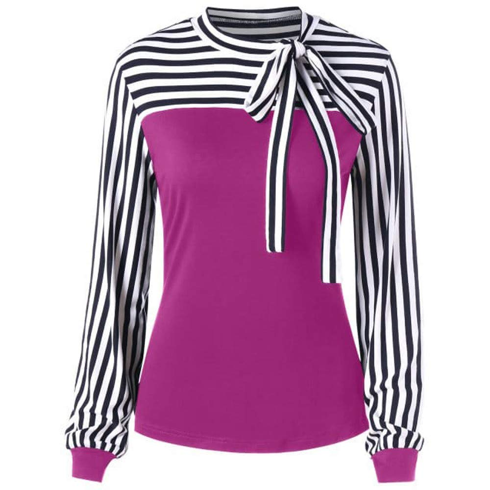 Women Blouse Long Sleeve Color Block Splice Stripe Bowknot Bandage Tunic Tops Shirt (M, Pink)