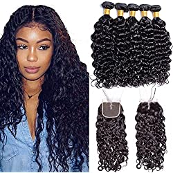 Maxine Wet And Wavy Water Wave Hair Malaysian Virgin Human Hair 4 Bundle Deals With 4x4 Middle Part Closure Natural Black 100% Unprocessed Human Hair 95-100g/pc(20 22 24 26 with 18)