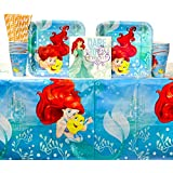 The Little Mermaid Ariel Dream Big Party Supplies Pack for 16 Guests: Straws, Dinner Plates, Luncheon Napkins, Cups, and Table Cover