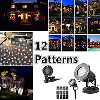 HOT SALE 12 Patterns Outdoor Starry Snowflake Projector Light LED Laser Projector Light Laser Stage Light Garden Christmas HomeParty Lamp Halloween Decoration Light Home Decor Light