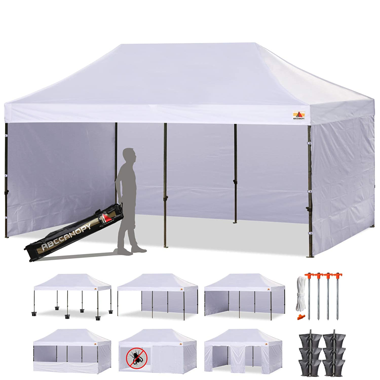 ABCCANOPY 23 Colors Deluxe 10×20 Pop up Canopy Outdoor Party Tent Commercial Gazebo with Enclosure Walls and Wheeled Carry Bag Bonus 6 Weight Bags,2 Half Walls and 1 Screen Wall White
