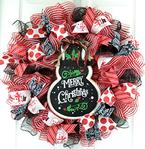 Snowman Christmas Mesh Door Wreath White Red Emerald Green Black