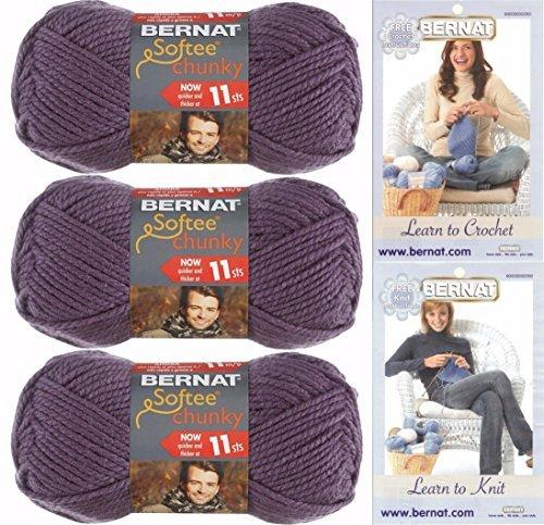 Bernat Chunky Yarn - Bernat Softee Chunky Yarn, Super Bulky #6, 3 Skeins Dark Mauve Bundle 28323