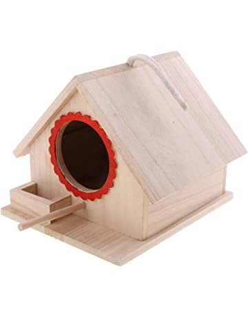 LOVIVER Casa de Madera para Pájaros Nido Caja con Cuerda - 20x 23x 18cm