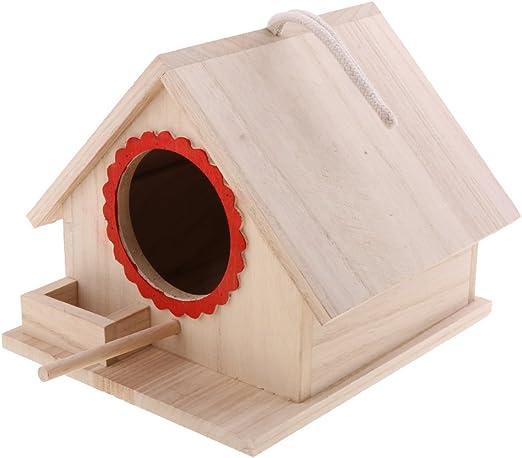 LOVIVER Casa de Pájaros Pajarera Nido Casa de Aves de Madera Natural con Cuerda Decorativa para Jardin en Invierno - 20x 23x 18cm: Amazon.es: Jardín