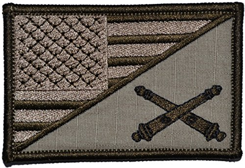 Field Artillery Cannoneer USA Flag 2.25 x 3.5 inch Morale Patch - Desert Tan