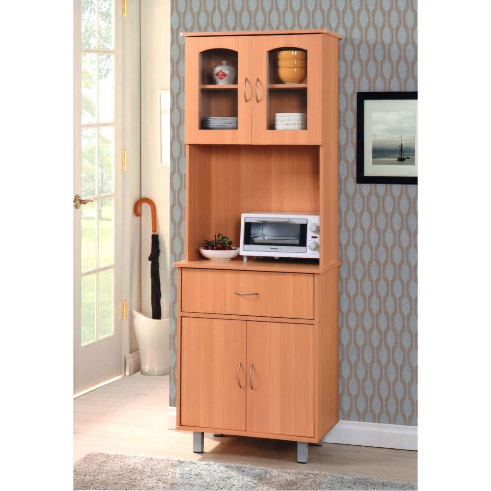 Modern Kitchen Cabinet with 4 Cabinet Doors & One Drawer Made w/ Wood in Beech 26.45W x 15.63D x 68.3H in.