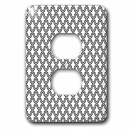 3dRose Anne Marie Baugh - Patterns - Black and White Fancy Quatre Foil Pattern - Light Switch Covers - 2 plug outlet cover (lsp_265052_6)