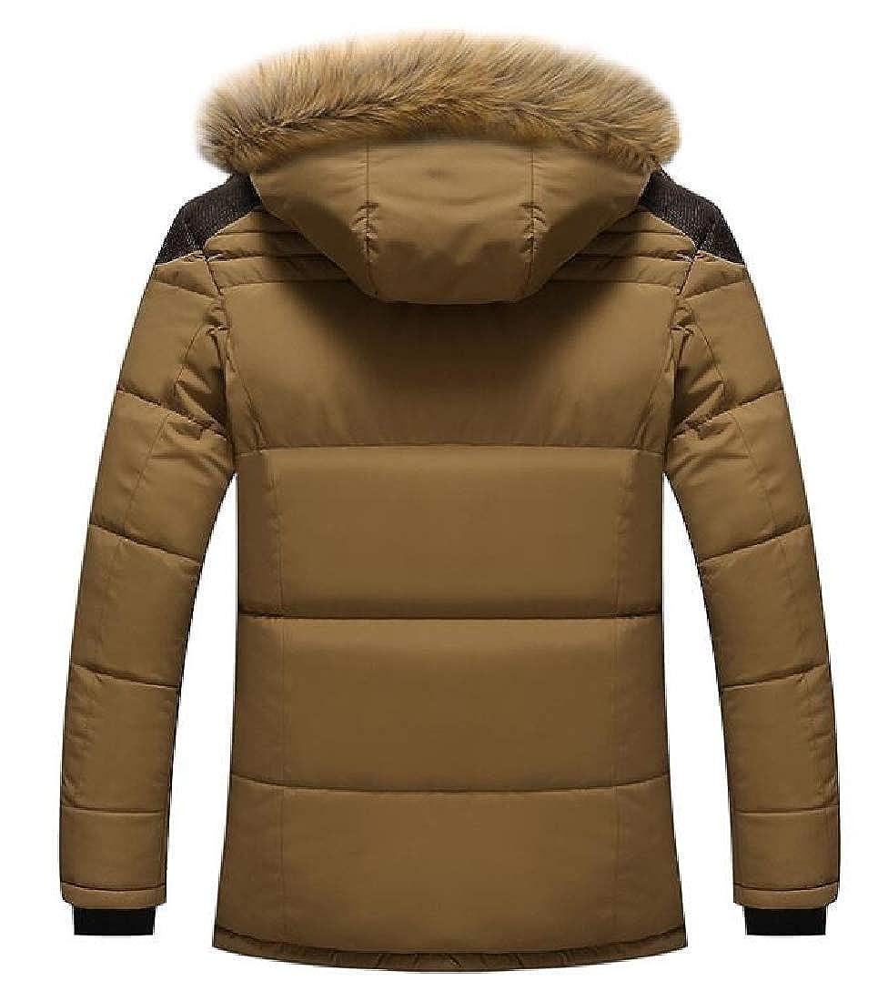 WSPLYSPJY Mens Winter Casual Outwear Fur Hoodie Qulited Cotton Down Jacket