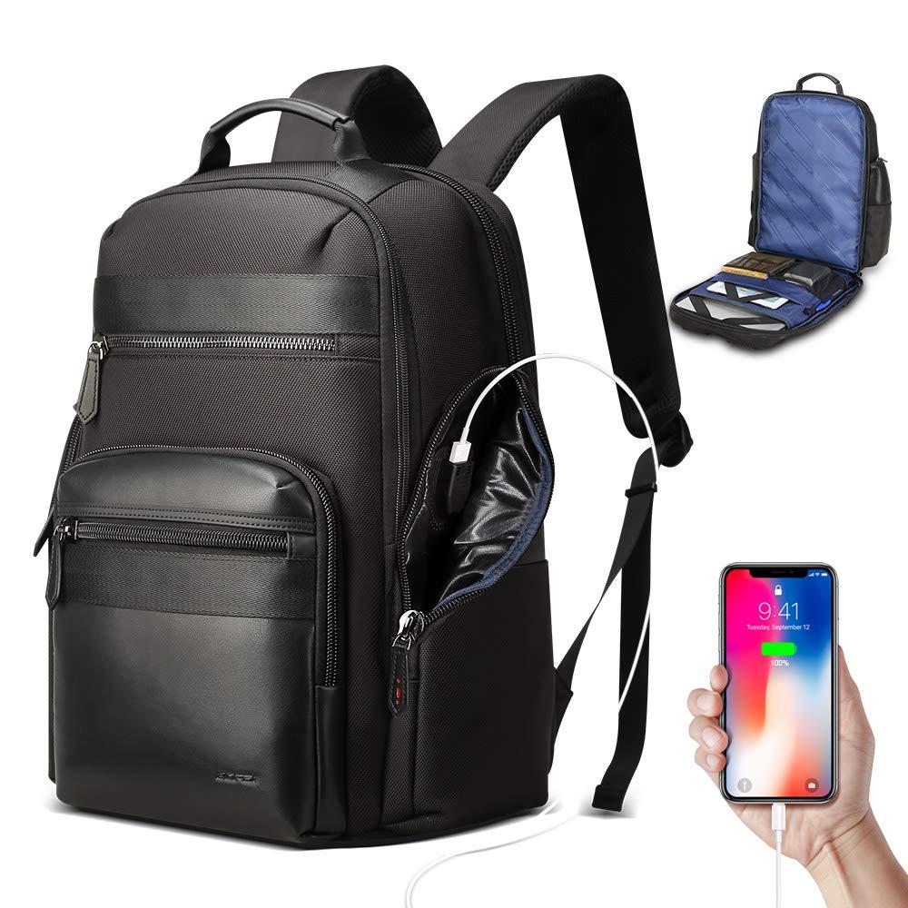 Bopai 38L 旅行用バックパック メンズ ビジネス ノートパソコン 15.6インチ コンピューターバッグ USB充電 防水 リュックサック ブラック   B07P8BRZPN