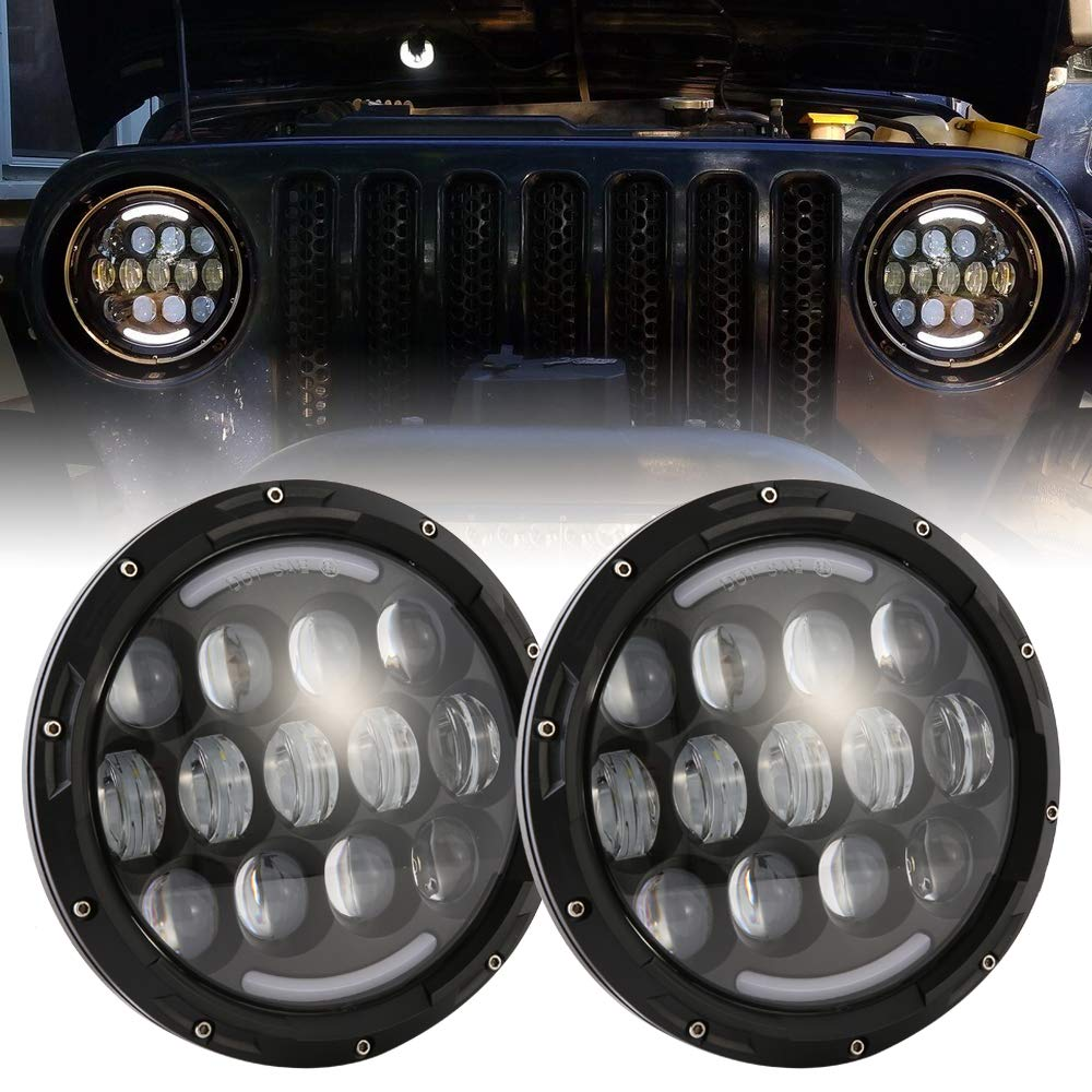 DOT Approved 90W 7 Inch Round LED Headlight with DRL High Low Beam for Jeep Wrangler 97-2017 JK TJ LJ JKU Rubicon Sahara Hummer H1 H2 Toyota Land Cruiser Dodge Dakota 2PCS Black