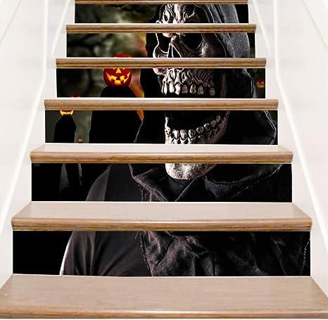 QJXX Pegatinas De Escalera Escalera 3D Risers Pegatinas PVC Mural De Halloween DIY Autoadhesivo Escaleras Impermeables Calcomanías Decoración del Dormitorio 18 * 100 Cm * 6 Unids: Amazon.es: Deportes y aire libre