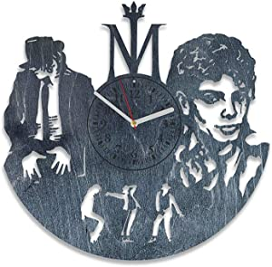 Kovides Michael Jackson Music Party Decorations Who`s Bad Michael Jackson Wall Decals King of Pop Music Wooden Wall Clock for Men and Woman Modern Decor for Home (Black)