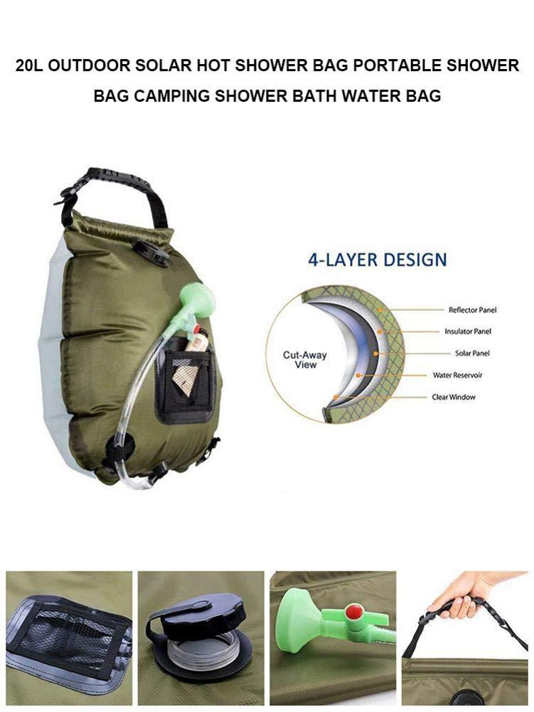 Bolsa de Ducha port/átil Solar para Exteriores Ducha y ba/ño 20 L Bolsa de Agua para Camping Blentude