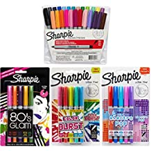 Sharpie Ultra Fine Point Permanent Marker Set, Assorted Colors, 39-Pack, Includes 5 Color Burst, 5 Electro Pop, and 5 80's Glam Colors