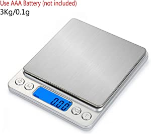 Jewelry Scale 3Kg/0.1G USB LCD Digital Electronic Weighing Scale Jewelry Grams Weight Balance Scale for Kitchen,3Kg-0.1G