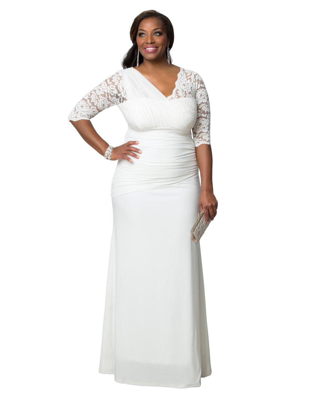Kiyonna Women's Plus Size Elegant aisle Wedding Gown 0X Ivory