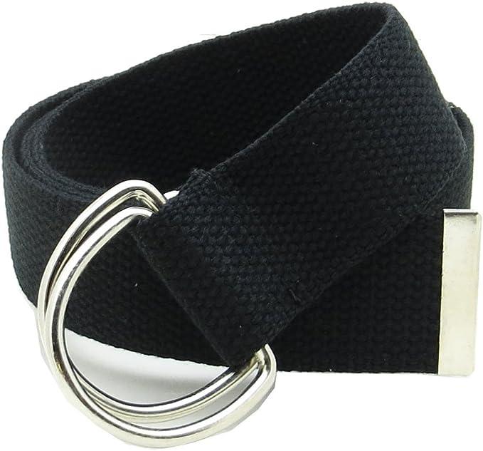 Men/'s Women/'s Plain Casual Canvas Web Belt with Double D Ring Metal Buckle New