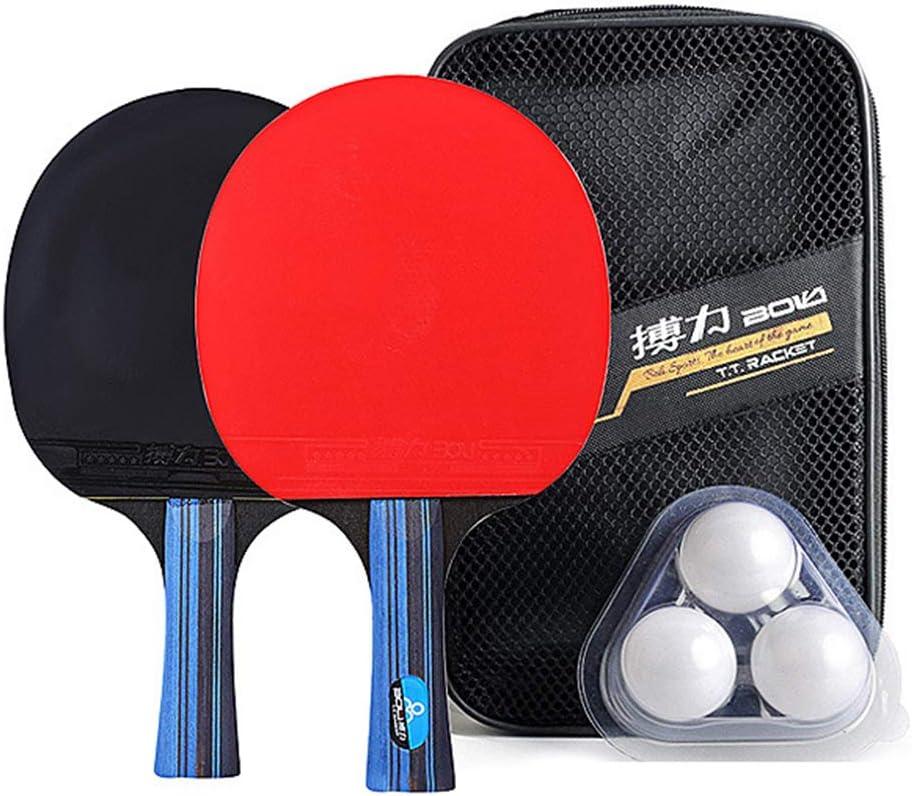 Lixada Raqueta de Pingpong Kit 2 Paletas de Ping Pong y 3 Pelotas de Ping Pong Bolsa de Almacenamiento