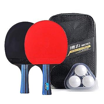 Lixada Raqueta de Tenis de Mesa Kit 2 Paletas de Ping Pong y 3 ...