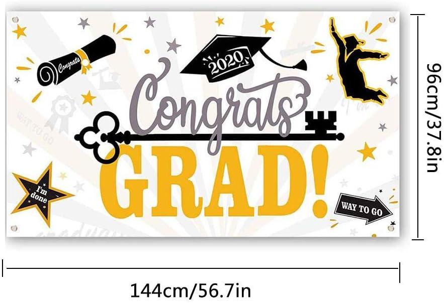 2020 banner graduaci/ón Decoraci/ón fiesta para exterior interior puerta principal pared de la pared 96 /× 144 cm exterior