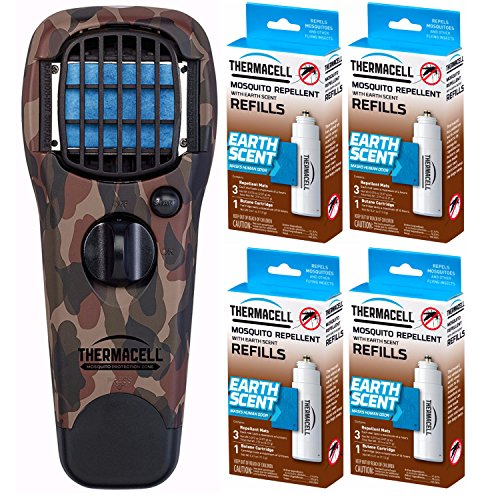 (Thermacell MR-FJ Mosquito/Flying Insect Repeller, Woodlands Camo, 4 Earth Scent Refill Packs)
