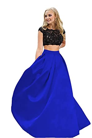 YSK Two Piece Prom Dresses Long Formal Evening Party Gowns Illusion Cocktail Dress