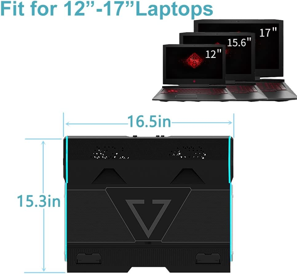 Slim Portable BUJIAN Laptop cooler cooling pad for 15.6-17 Inch Laptops with 2 Fans twin-turbo speed at 3,000-3,500 RPMS