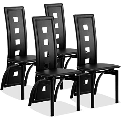 Giantex Set of 4 Dining Chairs Heavy Duty Iron Frame Ergonomic Curved  Backrest Food Pads for Home Kitchen Restaurant (Black)
