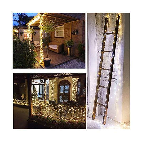 MOVEONSTEP catena luminosa 300 Led 33m corda leggera bianca 8 modalità impermeabile decorazione interna ed esterna è adatta anche per party garden Natale Halloween wedding 3 spesavip