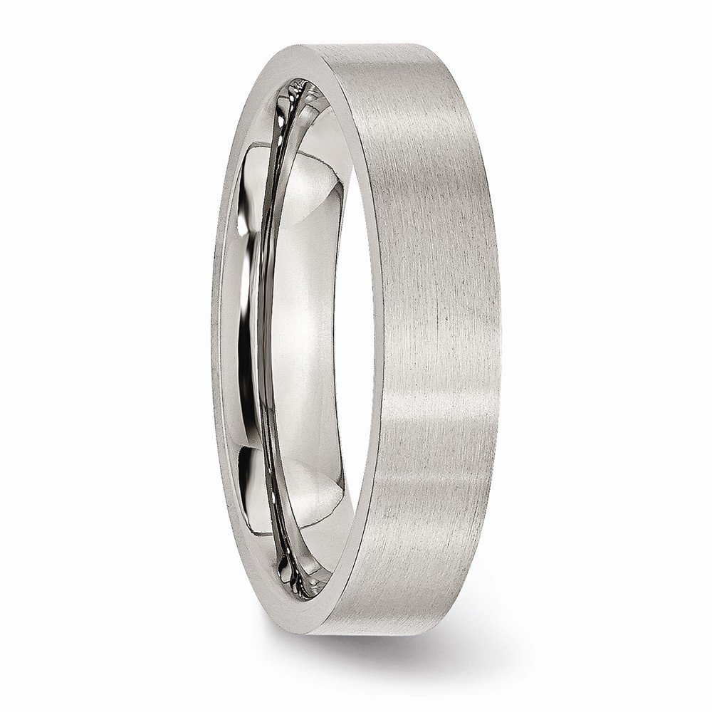 Wedding Bands Classic Bands Flat Bands Stainless Steel Flat 5mm Brushed Band Size 10.5