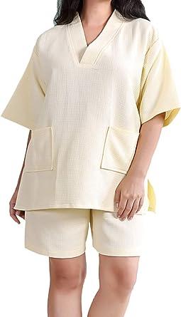 Pijama Mujer Hombre Conjunto Waffle Albornoz Traje De Baño Ropa De Dormir Camisón Camisa Pantalones Cortos Ligeros SPA Sauna Vapor Hotel: Amazon.es: Ropa y accesorios