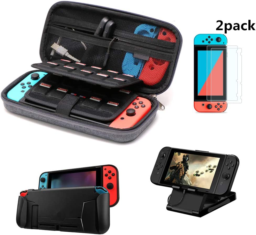 Soyan Accessories Bundle for Nintendo Switch, Includes Carrying Case, Comfort Grip Case, Foldable Playstand and Screen Protectors