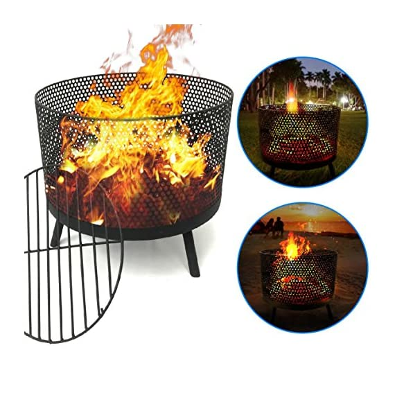 EasyGO Products EGP-FIRE-016 Camping Patio Outdoor Fire Pit – Black Finish Wood Burning Port - STYLISH AND FUNCTIONAL – Unique design create a relaxing atmosphere and invites friends and family to share a great time while cooking, staying warm and cozy, or just enjoying this outdoor fire ring. STRONG AND STURDY – Made of durable construction, our steel fire pit has a black finish and is long lasting. EASY ASSEMBLY – This firepit wood burning addition to your porch, deck or patio is easy to put together and the fire bowl is a nice size measuring as 21 inches. Also great for camping, beaches and outdoor events. - patio, outdoor-decor, fire-pits-outdoor-fireplaces - 61QDs6nZo%2BL. SS570  -