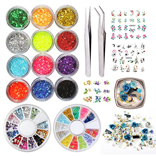 - 12 Colors Nail Glitter Powder Decoration Decals Nail Art Design Rhinestones Chrome Nail Gems Beads Tweezers Manicure Kits Set 4 Sheet Nail Decal Stickers (LIFE007i)