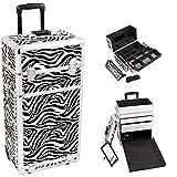 Sunrise I3763ZBWH Zebra Professional Rolling Aluminum Cosmetic Makeup Craft Storage Organizer Case with Large Drawers, Easy Slide Extendable Trays and Brush Holder