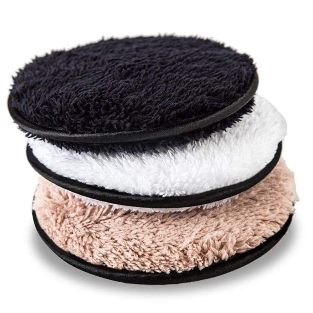 Microfiber Makeup Remover Pads, Just Remove Makeup with Water Like Magic, Large Reusable Face Cleaning Soft Facial & Skin Care Plush Wash Cloth Puff, 4.6inch Rounds, Double-sided, Set of 3 EXBOM