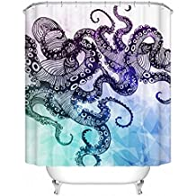 Shower Curtain Set,Funny Octopus Print,Thick Polyester Fabric,Mildew Resistant Waterproof Machine Washable,72 X 72 inch,Blue Purple
