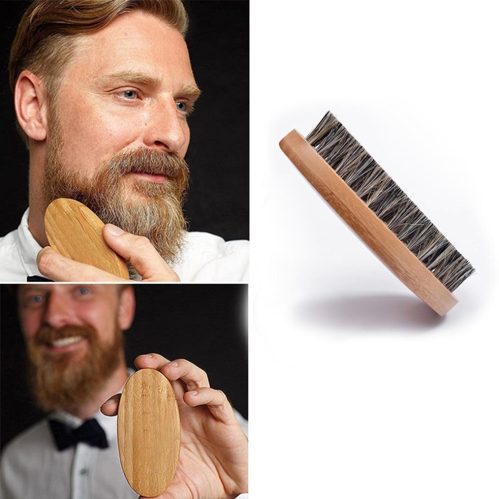 Byste Men's Beard Brush Wild Boar Bristle for Easy Grooming Wooden Beard Brush for Easy Holding