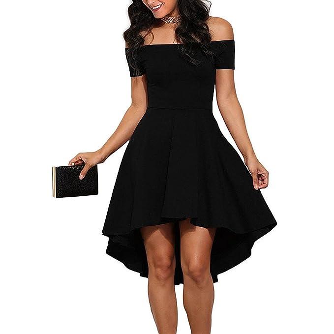 Vestido de Noche de Las Mujeres, 2018 Fuera del Hombro Cola bifurcada Patinador Alto bajo