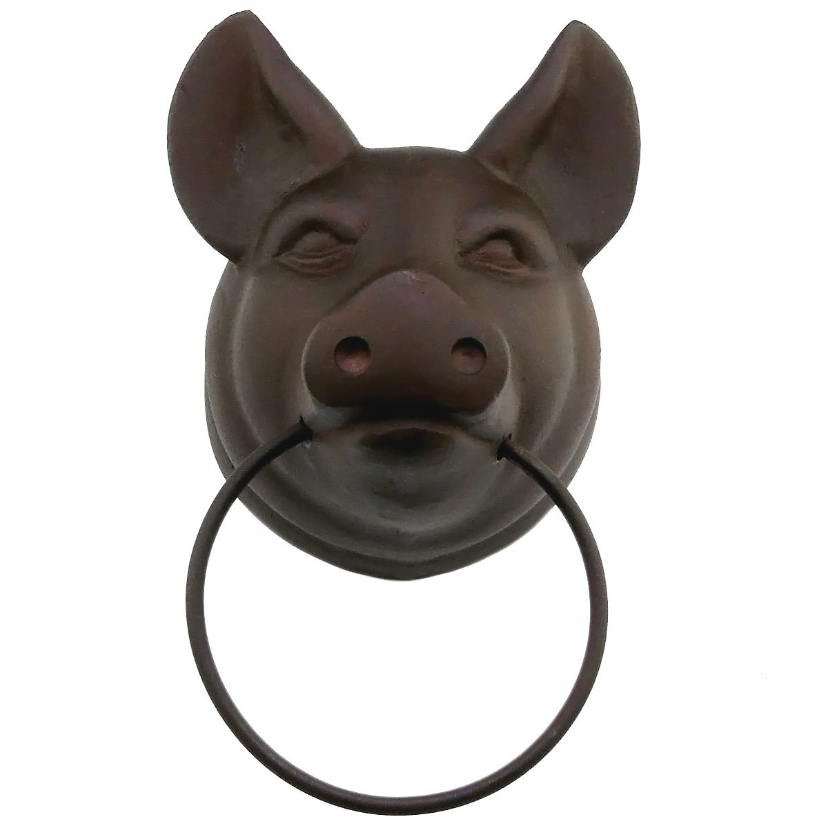 Studio Vertu Cast Iron Pig Towel Ring, Rust