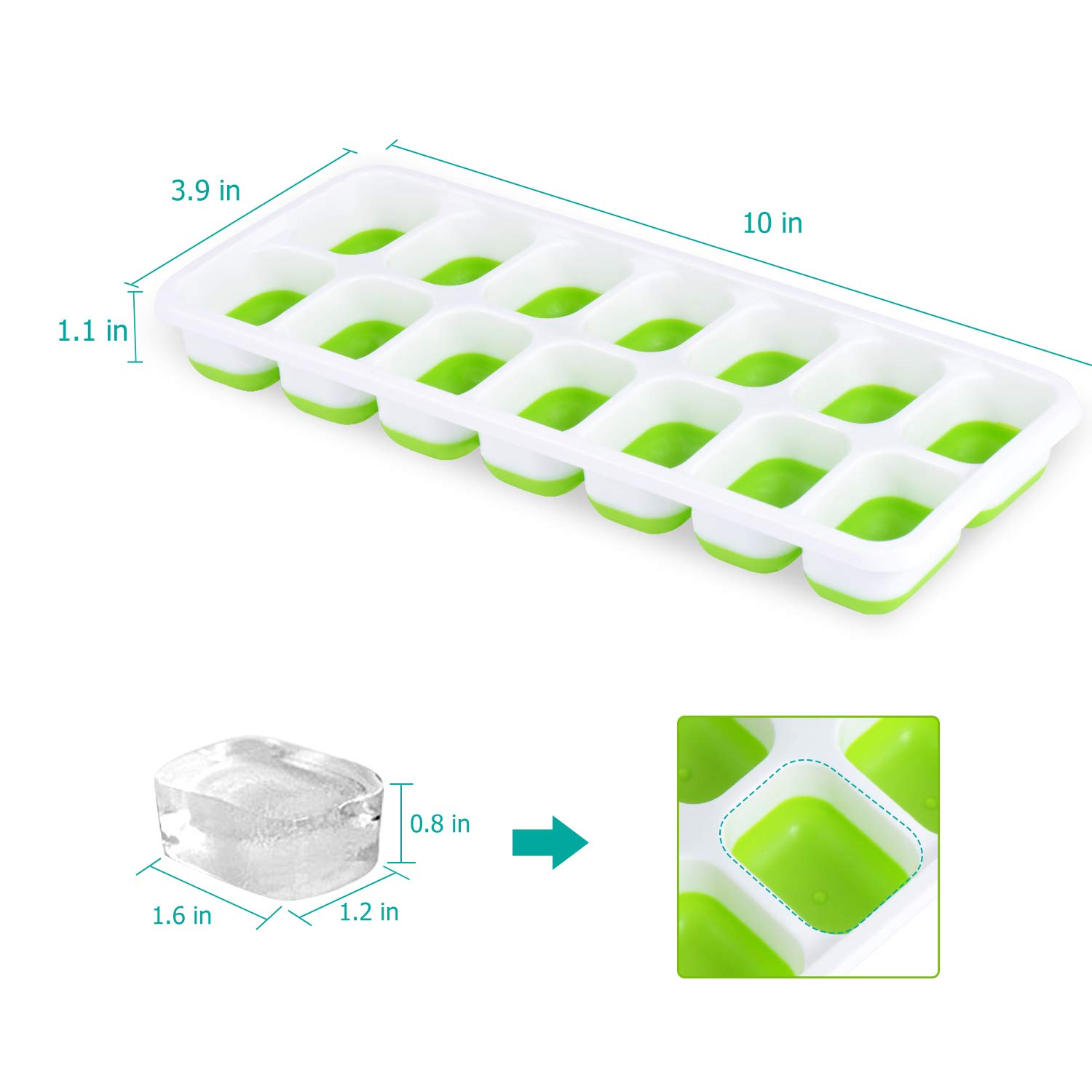 Adoric Ice Cube Trays 3 Pack Easy-Release Silicone and Flexible 14-Ice Trays Spill-Resistant Durable and Stackable Ice Cube Trays with Lids