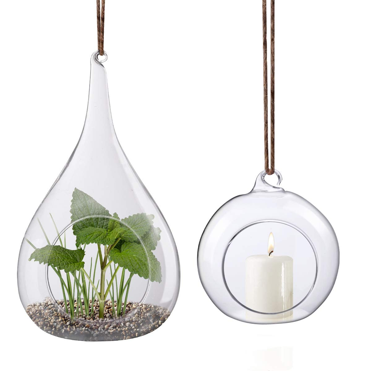 2 FANCIFUL TERRARIUMS TO HANG & PLANT