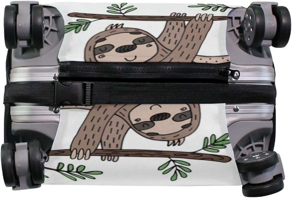 OREZI Luggage Protector Cute Doodle Sloth Travel Luggage Elastic Cover Suitcase Washable and Durable Anti-Scratch Stretchy Case Cover Fits 18-32 Inches