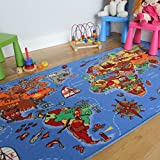 The Rug House Educational FUN Colourful World Map Countries & Oceans Kids Rugs 4'4'' x 6'7''