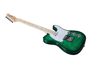 Monoprice Indio Retro DLX - Guitarra eléctrica con bolsa de transporte, color verde